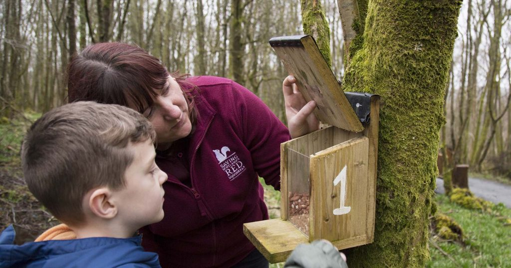 SSRS Conservation officer opens feeder box lid to show young boy how to set up a squirrel survey